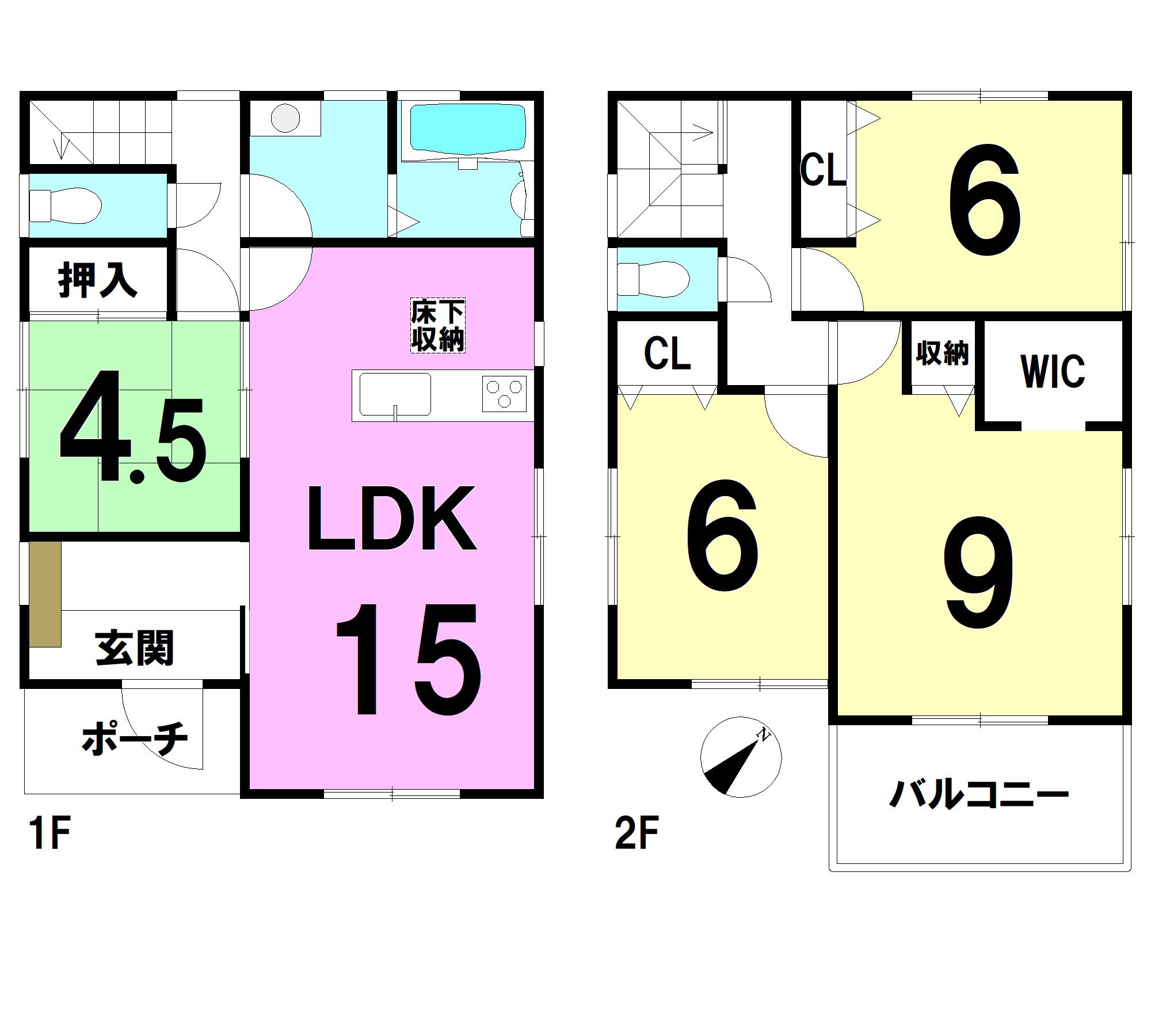 【間取り】 1F:15LDK 4.5和 2F:9洋 6洋 6洋 WIC トイレ