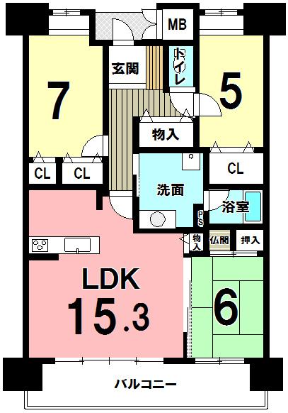 【間取り】 小倉南区富士見1丁目・サンリヤン城野♪LDK15畳以上♪