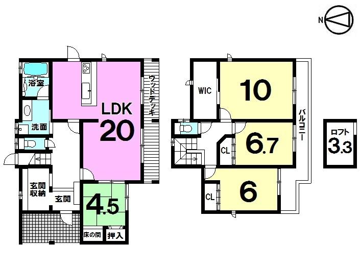 【間取り】 ・三菱電機太陽光5.52Kw(三菱HEMS)搭載 ・耐震等級3 ・長期優良認定住宅 ・4LDK+玄関収納+ロフト ・駐車2台可能