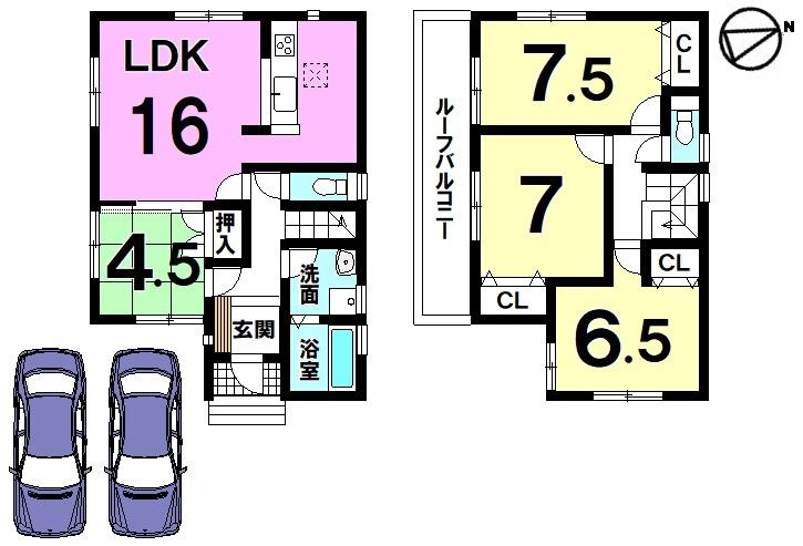 全室南向きの明るいお家! 収納スペースも豊富に確保しております。 並列で駐車2台可能です。
