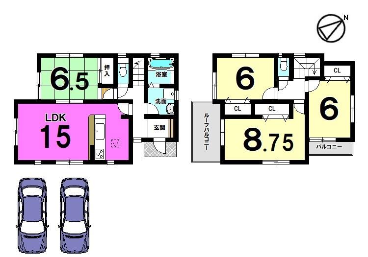 【間取り】 全室6帖以上の広さを確保したゆとりある間取りです。 収納スペースも豊富に確保しております。 並列で駐車2台可能です。