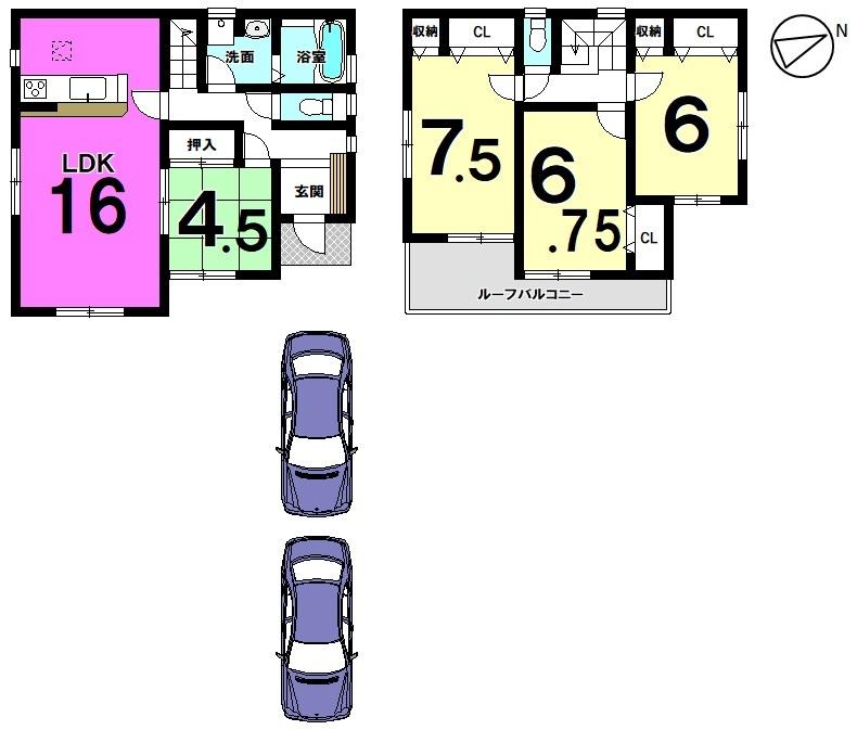 収納スペースを豊富に確保したゆとりある間取り。 並列で駐車2台可能です。