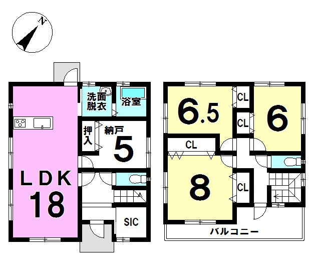 【間取り】 ▼駐車並列3台可 ▼5帖の納戸付 ▼玄関には便利なSIC付