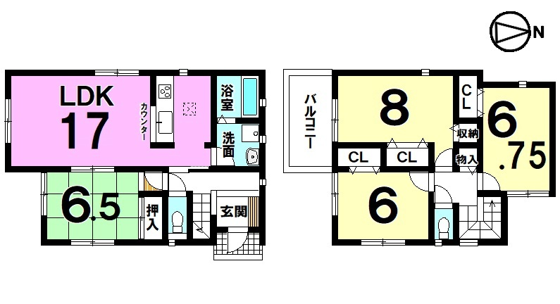 全室6帖以上の広さを確保したゆとりある間取りです。 収納スペースも豊富に確保しております。