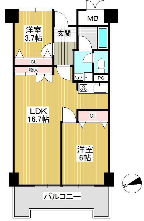 【間取り】 2LDK、価格2200万円、専有面積60.55m2、バルコニー面積8.24m2 専有面積57.47m2 大切なペットと一緒に暮らせるマンションです!
