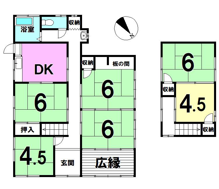 【間取り】 元清滝戸建 6DK