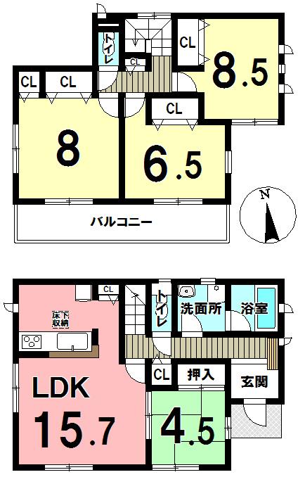 【間取り】 小倉南区沼新町3丁目の新築戸建!全2棟!