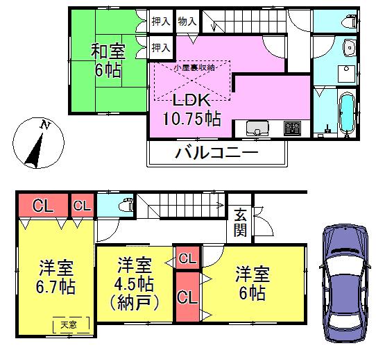 【間取り】 3LDK+納戸 4LDKとしても充分ご利用いただけます。収納豊富なお部屋です。