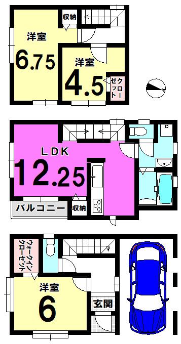 【間取り】 葛飾区鎌倉2丁目の新築戸建物件です。