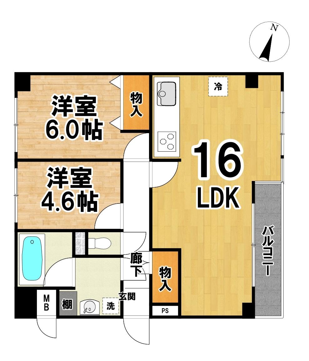 【間取り】 葛飾区 奥戸6丁目のライオンズマンション小岩第3物件です。