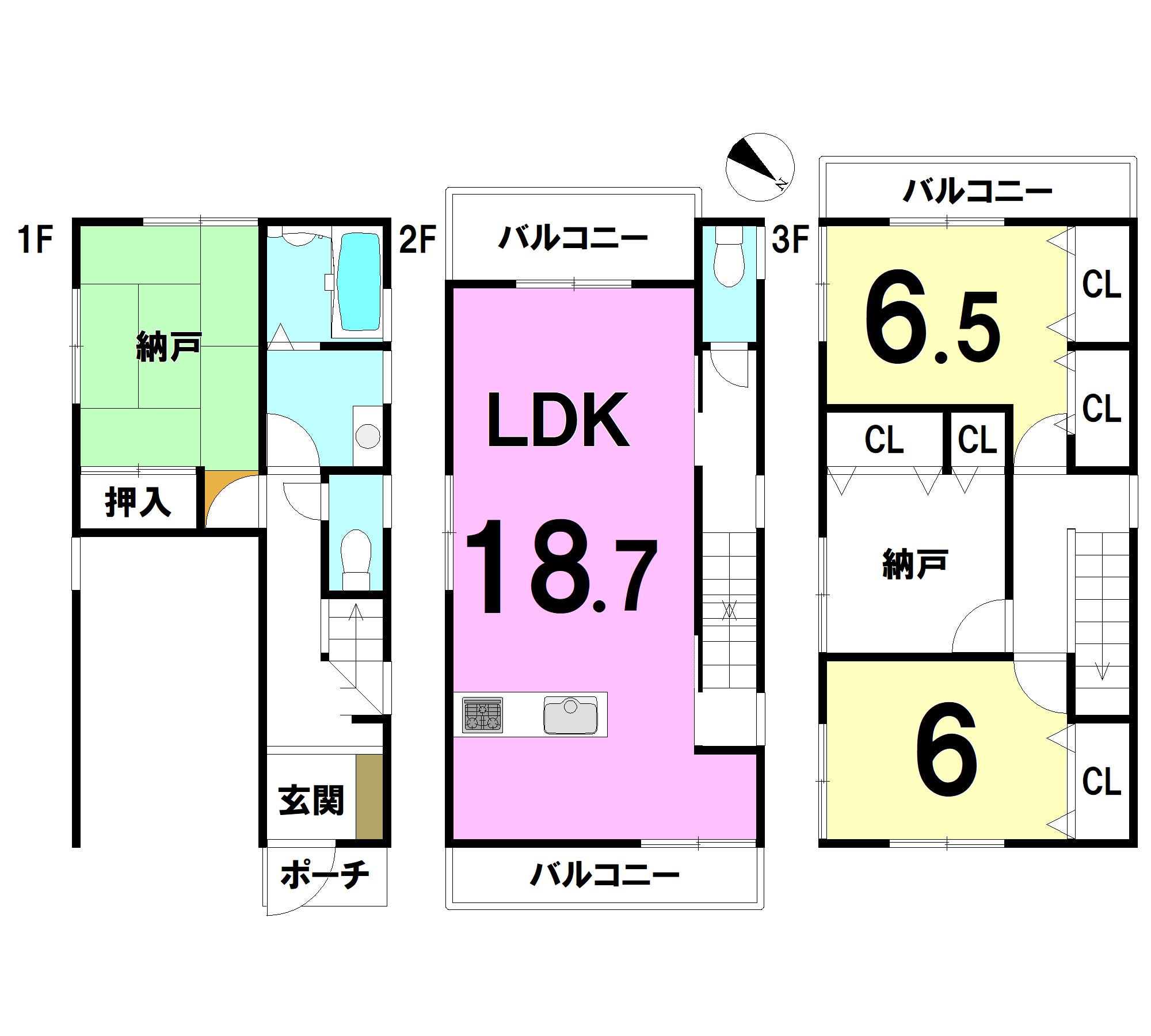 【間取り】 1F:6.5納戸 浴室 洗面 2F:18.7LDK 3F:6.5洋 6洋 4.5納戸