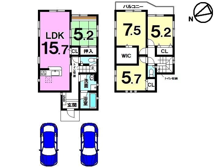 【間取り】 全2区画・4LDK・駐車2台可・制震構造・フラット35S適合