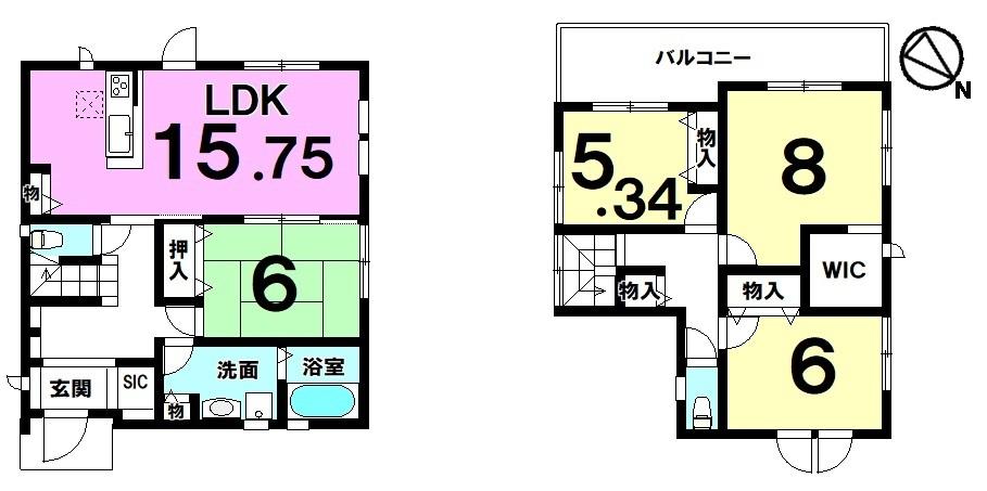 【間取り】 全2区画・土地約52坪・4LDK・駐車2台可・オール電化の新築住宅