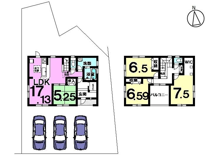 【間取り】 4LDK 駐車スペース 2台分