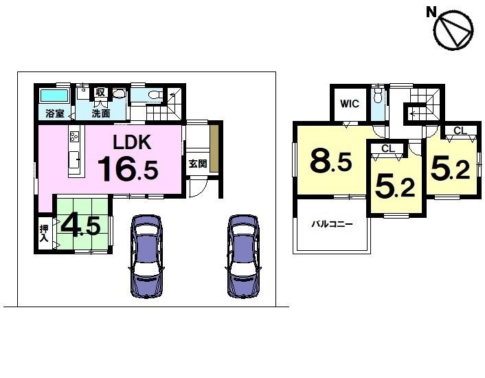 【間取り】 土地約48坪・4LDK・駐車2台可・JR草津駅まで徒歩19分の立地