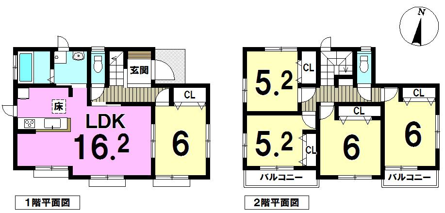 【間取り】 ~11号棟の中でも1番ゆったり!5LDK~LDK16帖以上~車2台駐車可~各居室収納つき~幸せたっぷりハートフルタウン~
