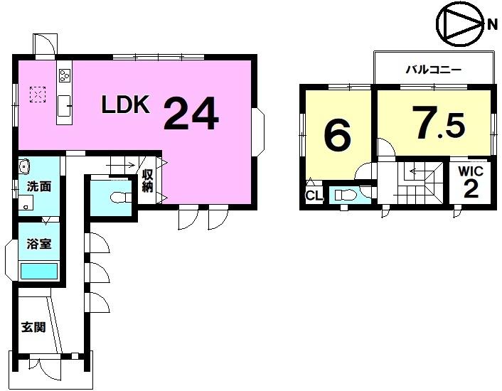 【間取り】 JR南草津駅まで徒歩24分・土地約82坪・床暖房・駐車4台可・全居室収納