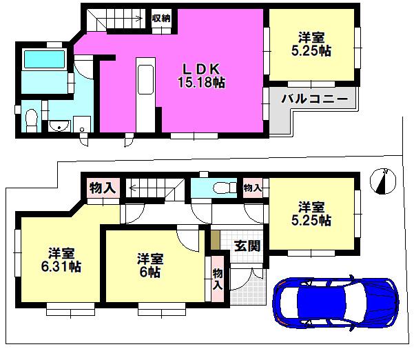 【間取り】 江戸川区上一色1丁目 1号棟 全3棟 新築戸建 の物件です。