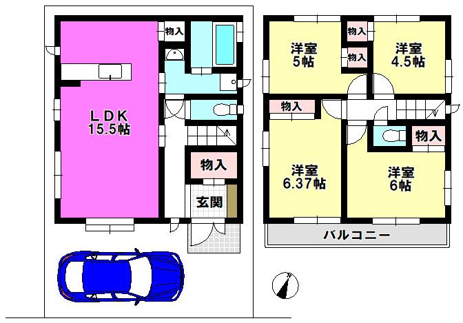 【間取り】 江戸川区上一色1丁目 2号棟 全3棟 新築戸建 の物件です。