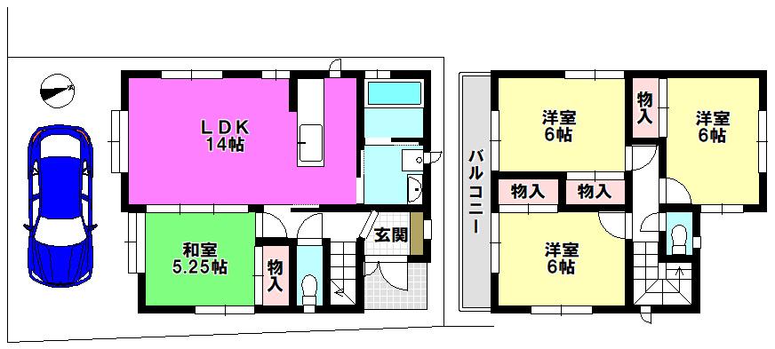 【間取り】 江戸川区上一色1丁目 3号棟 全3棟 新築戸建 の物件です。