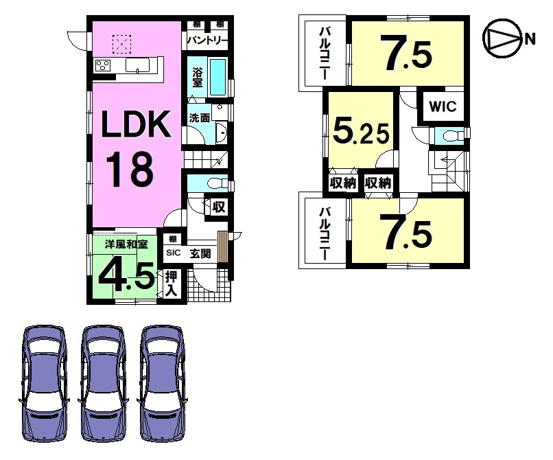 全室南向きの明るいおうち。 LDKは18帖!大勢のお客様がいらしても安心の広さです。 並列で3台駐車可能なゆとりある敷地です。