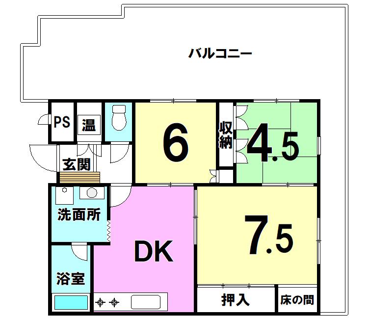 【間取り】 グランドハイツ井堀403号室