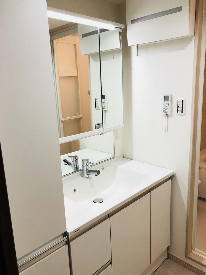 洗面化粧台の横には収納スペースがありますので、タオルや消耗品のストックなどを入れておけます。