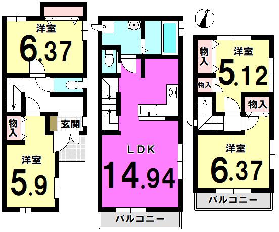 【間取り】  江戸川区北小岩6丁目の新築戸建物件です。