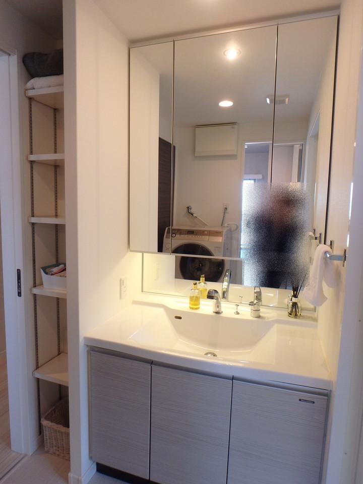 廊下側からとリビング側から出入り可能な洗面所です。