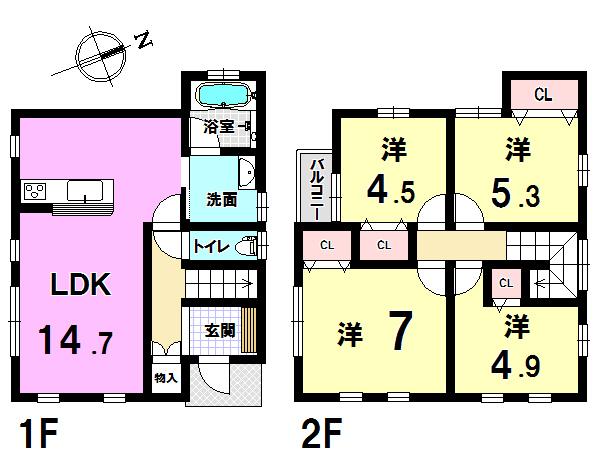 【間取り】 1階LDK・2階4部屋♪主要採光部は南向き♪固定資産税や将来のメンテナンス費用も安いコンパクトな4LDKです♪