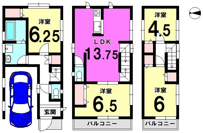 【間取り】 葛飾区鎌倉3丁目 新築戸建です