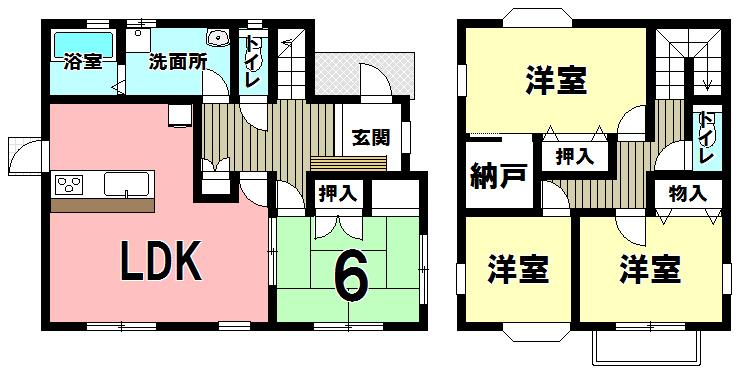 【間取り】 小倉南区葛原本町2丁目の中古戸建★4LDK♪トイレ2ヵ所♪納戸あり♪