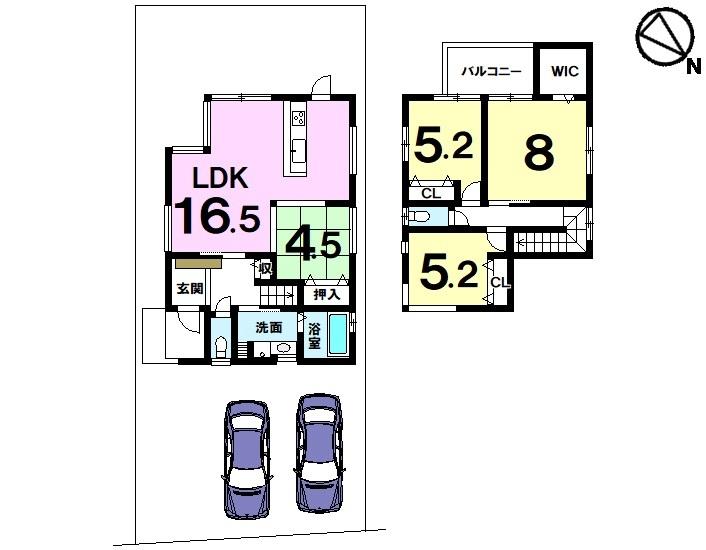 【間取り】 土地約45坪・4LDK・駐車2台可・フレンドマート・D小柿店まで徒歩11分(約810m)の立地
