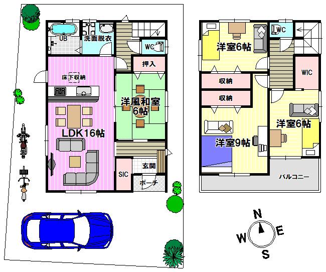 【間取り】 人気のウォークインクローゼット・全居室収納完備で家具を置いてもお部屋が狭くなる心配がありません