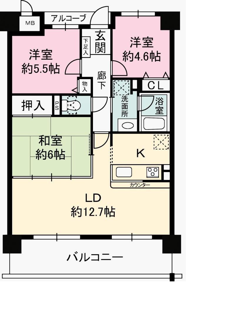 【間取り】 平成29年7月改装済なので 新築気分が味わえます♪  現在空室なのでゆっくり 内覧も可能ですよ