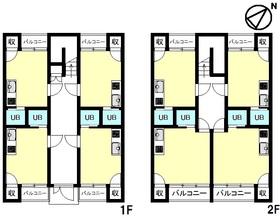 【間取り】 収益アパート・陽光射し込む南東向き・敷地内駐車場有・ゆとりのある前道約6m・8部屋有