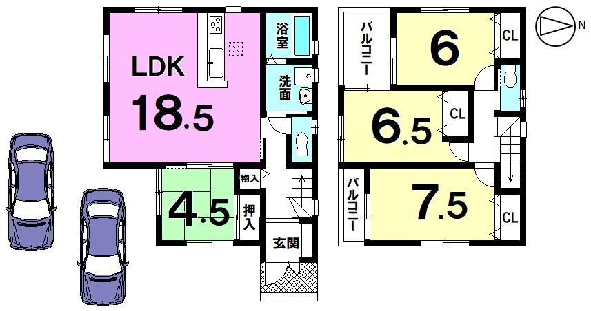 LDKは18.5帖!全室南向きで陽当たり重視のお客様にも きっとご満足頂ける物件です。リビング前にはお庭もあります。 お子様の遊び場やガーデニングスペースにいかがでしょうか。