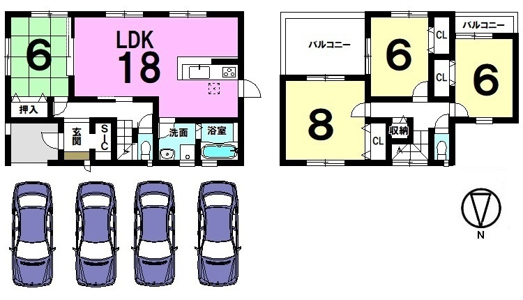 全室南向きの光あふれるおうちです。 18帖の大きなLDKは是非ご覧頂きたいポイント! 約5.5帖の南向きバルコニーは2室から出入りできる便利な設計。 並列で2台駐車可能です。