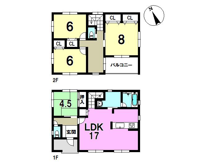 1号棟、4LDK、敷地面積151.49㎡、建物面積109.75㎡ 並列駐車2台可能です。全居室にうれしい収納付き♪