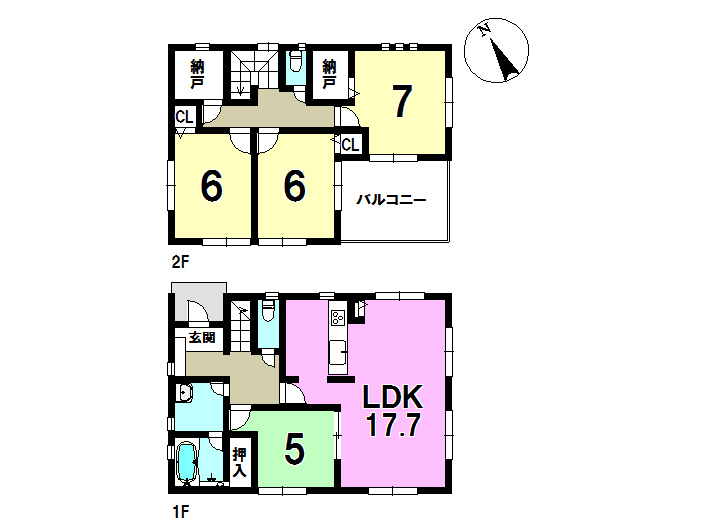 2号棟、4SLDK、敷地面積190.08㎡、建物面積111.78㎡ 全居室に収納付き♪並列駐車4台可能です。