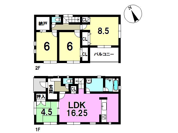 3号棟、4SLDK、敷地面積144.16㎡、建物面積104.49㎡ 並列駐車3台可能です。全居室にうれしい収納付き♪