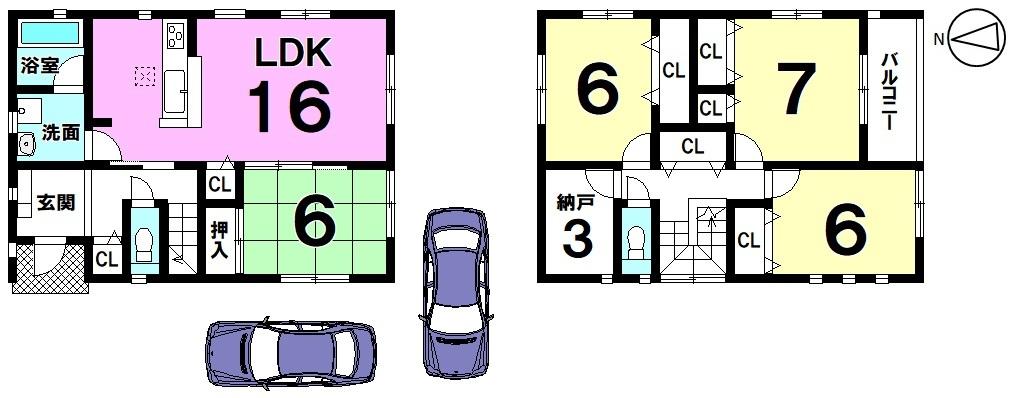 全室6帖以上の広さを確保したゆとりある間取り。 3帖の納戸に加え、全室に収納をもうけております。 2台駐車可能です。