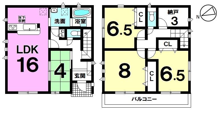 名鉄河和線 富貴駅まで徒歩2分の近さ 全居室収納付き+3帖の納戸が備わった新築戸建