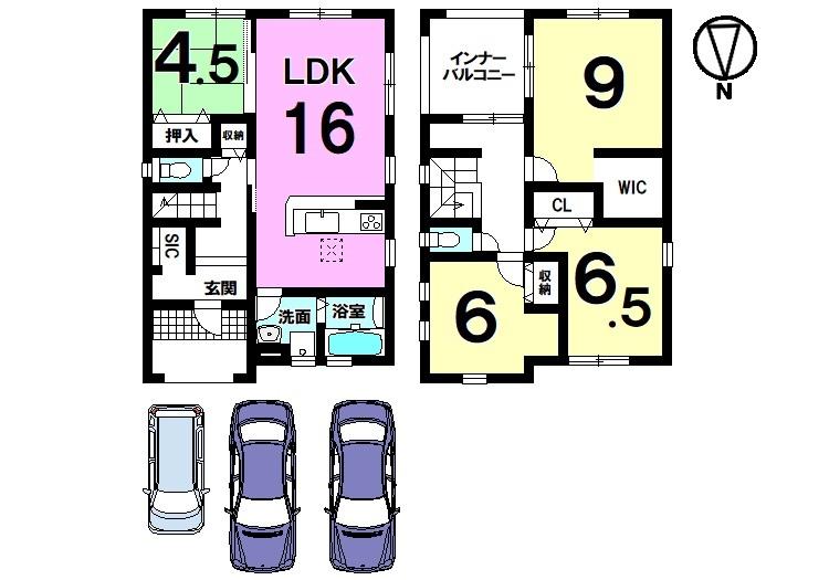 全室に収納スペースを確保。 急な雨でもお洗濯物を濡らさないインナーバルコニーを採用しました。 駐車は並列で3台可能です。