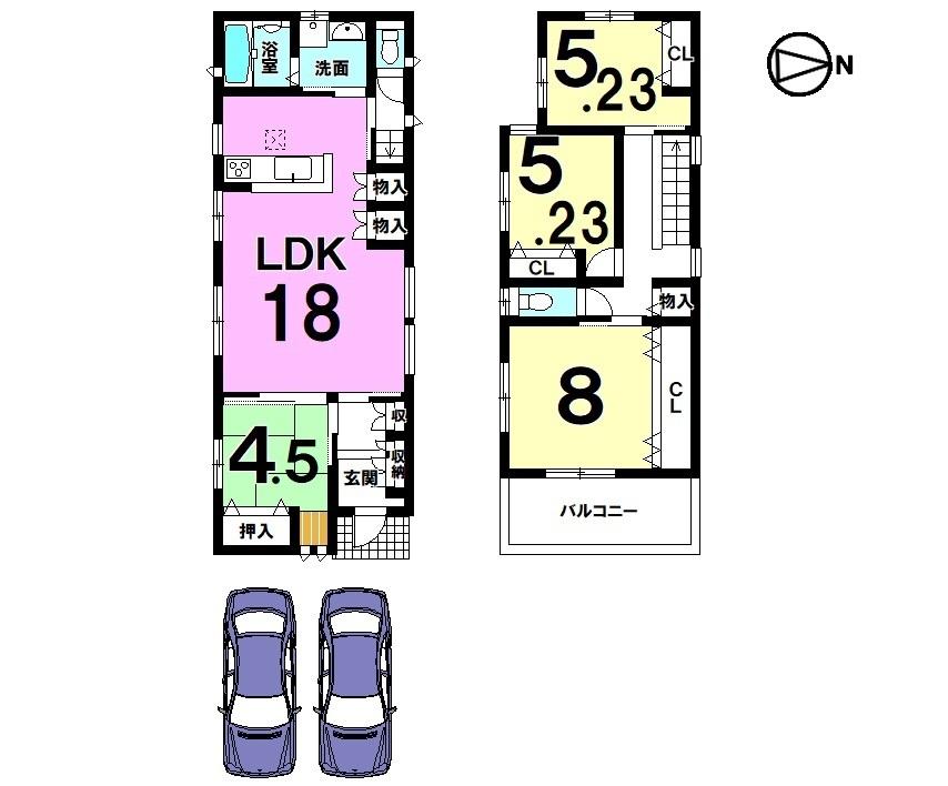 全室南向き!LDK18帖。 キッチンには食器洗浄乾燥機、水栓一体型浄水器を完備。 収納スペースも豊富に確保しております。 並列で2台駐車可能です。