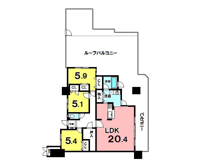 【間取り】 壷川駅徒歩7分!15階建13階部分・角部屋・ルーフバルコニー(約58平米)有!ペット可・駐車場空有!
