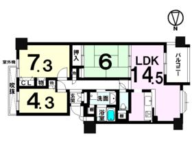 【間取り】 オーナーチェンジ物件・全81戸・7階建・JR瀬田駅徒歩24分・イオンモール草津まで徒歩13分の立地