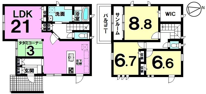 LDKはゆとりの21帖 雨の日の洗濯物を干すスペースに便利なサンルーム付きの新築戸建 詳しくはハウスドゥ半田店までお気軽にお問い合わせください