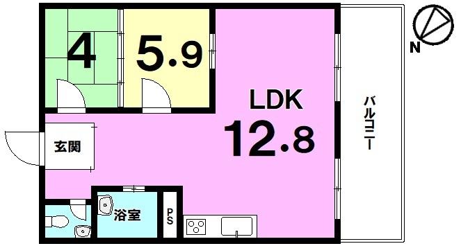 【間取り】 即内覧可能!リフォーム済物件・2LDK!サンエーV21まきみなと食品館まで徒歩2分(約200m)!