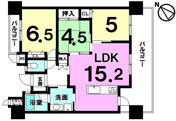 【間取り】 令和元年9月末退去予定!2面バルコニー・対面キッチン・各居室収納・トランクルーム有3LDK!駐車場有